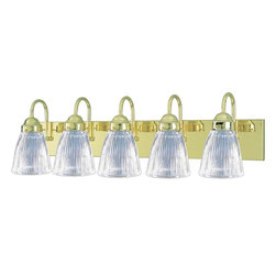 "VOLUME LIGHTING - 5 Glass Bathroom Wall Mount, Polished Brass - Includes 5 clear ribbed glass secured with 3 thumb screws |Mounts up or down |Damp location rated |Rated 5-100 watt medium base |Ceramic sockets |33""W x 8-1/4""H x 6-1/2""E - Manufacturer: Volume Lighting - HVAC - FORCED AIR SYSTEMS - FAS EVAPORATION UNITS - EVAPORATOR COILS."