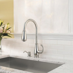 Pfister - Pfister Treviso GT52-9DSS Single Handle Pull Down Kitchen Faucet Multicolor - 47 - Shop for Kitchen from Hayneedle.com! Elegant curves give the Pfister Treviso GT52-9DSS Single Handle Pull Down Kitchen Faucet the organic style to have your kitchen springing with life. It's made from solid brass to combat bacteria and rust without batting an eye. This faucet's high-arcing and swiveling spout means that the largest of cookware will have easy access to the basin. Just pull the head of the spout down to double as a strong sprayer to wash dishes and produce in a snap. The seamlessly-integrated dispenser will have your favorite liquid soap always at the ready.Product Specifications:Mount Type: Deck MountHandle Style: LeverValve Type: Ceramic DiscFlow Rate (GPM): 2.2Swivel: 360 degreesSpout Height: 7.8-inchSpout Reach: 8-inchAbout PfisterPfister has been one of the most trusted names in the plumbing industry since they opened their doors in 1910. Since then they have created a legacy of excellence in design and engineering that has made them an innovative leader in the industry creating superior kitchen and bath faucets fixtures and accessories. They are continually exploring ways to meet eco-friendly standards and user-friendly products that cater to the needs of our environment.