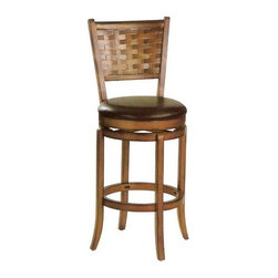 "ACMACM07032 - Set of 2 Oak Finish Wood Swivel Bar Stools with Vinyl Padded Seats - Set of 2 oak finish wood swivel bar stools with vinyl padded seats, 30"" seat height, some assembly required."
