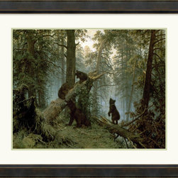 Amanti Art - Morning in a Pine Forest Framed Print by Ivan Ivanovich Shishkin - Four bear cubs adventure in a thick forest. Ivan Shishkin was a 19th century Russian painter who was renowned for his poetic reflections on the natural world.
