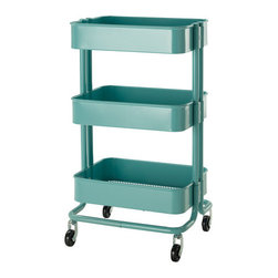 Råskog Kitchen Cart, Turquoise - Kitchen cart, nightstand or bar cart, this handy guy could be anything. And it's oh-so-cute.