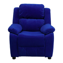 "Flash Furniture - Deluxe Heavily Padded Contemporary Blue Microfiber Kids Recliner - Kids will now be able to enjoy the comfort that adults experience with a comfortable recliner that was made just for them! This chair features a strong wood frame with soft foam and then enveloped in durable microfiber upholstery for your active child. Choose from an array of colors that will best suit your child's personality or bedroom. This petite sized recliner features storage arms so kids can store items away and retrieve at their convenience.; Child's Recliner; Overstuffed Padding for Comfort; Additional Headrest Cover Included; Blue Microfiber Upholstery; Easy to Clean Upholstery with Damp Cloth; Flip-Up Storage Arms; Storage Arm Size: 3.25""W x 6""D x 11""H; Solid Hardwood Frame; Raised Black Plastic Feet; Intended use for Children Ages 3-9; 90 lb. Weight Limit; Meets or Exceeds CA117 Fire Resistance Standards; Safety Feature: Will not recline unless child is in seated position and pulls ottoman 1"" out and then reclines; Assembly Required: Yes; Country of Origin: China; Warranty: 2 Years; Weight: 29 lbs.; Dimensions: 28""H x 25""W x 26 - 39""D"