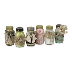 Mason's Vintage Jars - Set of 6 - Adding a vintage touch to any room, this set of six revamped jars have painted interiors and are wrapped in lace, tulle, ribbon, burlap and embellished with a mix of Shabby Chic elements.