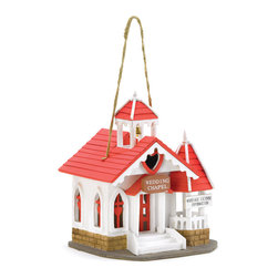 "KOOLEKOO - Wedding Chapel Birdhouse - What better ""love nest"" for a lucky pair of lovebirds? With its sweetly sentimental styling and romantic red-and-white theme, this charming chapel will delight the romantic in each of us."