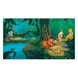 York Wallcoverings - Lion King Jungle Simba Giant Wallpaper Accent Mural - Features: