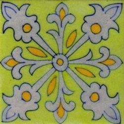 """Knobco - Ceramic tile, White and Yellow Design with Lime Green Base - White and Yellow Design with Lime Green Base Tiles from Jaipur, India. Unique, hand painted tiles for your kitchen or other  tiling project. Tile is 4x4"""" in size."""