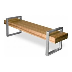 Gus Modern - Return Bench   Gus Modern - Featuring a unique architectural design, the Return Bench has a wood deck suspended from two stainless steel arches to create  a beautiful visual illusion. Constructed of wood veneer and stainless steel, the Return Bench is striking when used for  additional seating or as a coffee table. A piece of craftsmanship, the Return Bench includes brushed stainless steel detail with  mitered corners and plastic leveler feet on all four corners to prevent floor damage from occurring. Whether it stands alone or  is paired with one of  Gus* Modern's seating collections, the Return Bench is made for the modern home.