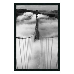 Amanti Art - 'Misty Morning' Framed Photograph With Gel-Coated Finish - If you've ever left your heart in San Francisco, then you know it's the kind of place to which you feel compelled to return again and again. This majestic black and white photograph of the foggy Golden Gate bridge, looking towards Marin County, is one way you can visit. Even if you're a Bay Area local, this print is a showstopper. Framed and ready to hang. Made in the USA.