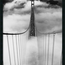 "Amanti Art - ""Misty Morning"" Framed with Gel Coated Finish - If you've ever left your heart in San Francisco, then you know it's the kind of place to which you feel compelled to return again and again. This majestic black and white photograph of the foggy Golden Gate bridge, looking towards Marin County, is one way you can visit. Even if you're a Bay Area local, this print is a showstopper. Framed and ready to hang. Made in the USA."
