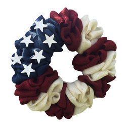 """All American Burlap Bubble Wreath, 14"""" - How gorgeous is this All American Flag Burlap Bubble Wreath?! Made from rustic blue, red, and white burlap, and adorned with 6 shabby chic white wooden stars, this wreath will be a show stopper itself come Memorial Day and Fourth of July! What a fabulous wreath for a year round display as well. Also a great gift for an service man/woman!"""