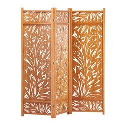 Greenington - Lily Standing Screen - Separate your space without losing your light. With gracefully carved details that let the daylight though, this screen serves its function in elegant form.