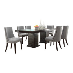 Homelegance - Homelegance Chicago 8-Piece Pedestal Dining Room Set in Deep Espresso - Design elements from traditional to mid-century modern are delicately balanced in the sophisticated Chicago collection. This deep espresso finished dining group takes the uniquely routed accent of the apron and double pedestal table base and applies it to the accompanying server. The shape of the chairs conforms to your body, providing comfort and maximum style. From the grand sweep of the arms to the traditional nail-head accent, this chair is the ultimate in sophistication. The server features tassel drop pull hardware in a nickel finish and features door storage.