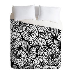 DENY Designs - Julia Da Rocha Bouquet Of Flowers Love Duvet Cover - Turn your basic, boring down comforter into the super stylish focal point of your bedroom. Our Luxe Duvet is made from a heavy-weight luxurious woven polyester with a 50% cotton/50% polyester cream bottom. It also includes a hidden zipper with interior corner ties to secure your comforter. it's comfy, fade-resistant, and custom printed for each and every customer.