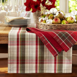 Plaid Table Runner - Set a holly, jolly table with a dyed-yarn, plaid, cotton table runner.