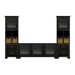 Howard Miller Custom - Owen Cabinet w 5 Doors in Antique Black - This cabinet is finished in Antique Black on select Hardwoods and Veneers with Antique Brass hardware. Console:. 3 doors with beveled Glass. 3 adjustable interior shelves. Tower:. 2 doors with beveled Glass and 4 raised panel drawers. 2 adjustable interior shelves, 2 cross storage shelf and 4 small woven baskets. Cove profile top and Ogee profile base. Hardware: knobs on doors and cup pulls on drawers. Features soft-close doors, metal drawer glides, and metal shelf slips. Simple assembly required. Console: 70 1/4 in. W x 22 1/4 in. D x 29 1/2 in. H. Tower: 27 1/4 in. W x 17 in. D x 78 1/2 in. H