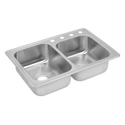 """Elkay - 33"""" x 22"""" x 8"""" Double Bowl Kitchen Sink - Product height: 39.13. Product min width: 9.94. Product depth: 23.4418. Gauge stainless steel 33"""" x 22"""" x 8"""" double bowl top mount kitchen sink. Dayton offers a complete line of sinks, drains and accessories from undermount, universal or top mount styles, Dayton sinks come in nearly every size and configuration and offer product lines and packages to meet every budget. All backed with the quality assurance of domestic manufacturing and customer care that is Dayton. Dayton stainless steel double bowl top mount sink."""