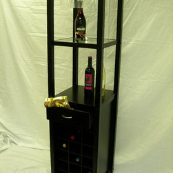 Proman Products - Galina Wine Rack Tower With Glass Holder - Galina wine rack tower with glass holder,18 wine cells, matte black finish