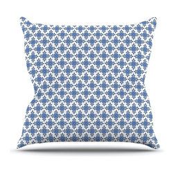 """Kess InHouse - Carolyn Greifeld """"Bohemian Blues III"""" White Blue Throw Pillow (26"""" x 26"""") - Rest among the art you love. Transform your hang out room into a hip gallery, that's also comfortable. With this pillow you can create an environment that reflects your unique style. It's amazing what a throw pillow can do to complete a room. (Kess InHouse is not responsible for pillow fighting that may occur as the result of creative stimulation)."""