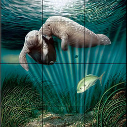 """The Tile Mural Store (USA) - Tile Mural - Lazy Day Romance - Kitchen Backsplash Ideas - This beautiful artwork by Dann """"Spider"""" Warren has been digitally reproduced for tiles and depicts the romancing of two manatees.  Our mermaid and manatee tile murals are a great way to add something unique to your kitchen backsplash tile project. Make your tub and shower surround bathroom tile project exceptional with one of our decorative tile murals of mermaids or manatees. Decorative tiles with mermaids are beautiful and timeless and will never go out of style. Make a mermaid tile mural or a tile mural of manatees part of your bathroom wall tile and enjoy this tile mural every day in your newly renovated bathroom."""