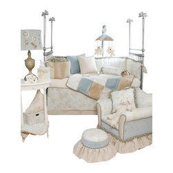 Glenna Jean - Central Park Crib Bedding Set 3-Piece Set - The Central Park Crib Bedding Set by Glenna Jean is a sophisticated blend of toile, houndstooth, gingham check, embroidery and velvets in soft shades of glacier and sand that create a gender neutral palette great for girls and boys.