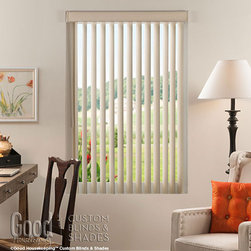 Good Housekeeping - Good Housekeeping Vertical Blinds: Textures - Cordless Textured Vertical Blinds bring a some added style to wide windows and sliding patio doors.  Easily rotate the vanes to control the light; use the child-safe wand control to open and close the blinds without any dangling cords.