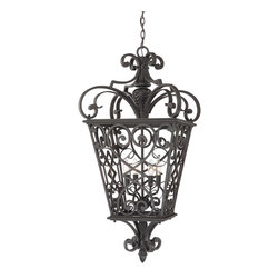 Quoizel - Quoizel FQ1920MK01 Fort Quinn 4 Light Outdoor Pendants/Chandeliers in Marcado Bl - This 4 light Outdoor Hanging Lantern from the Fort Quinn collection by Quoizel will enhance your home with a perfect mix of form and function. The features include a Marcado Black finish applied by experts. This item qualifies for free shipping!