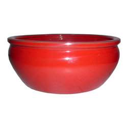 Red Ceramic Planter - Of course the red is stunning, but the low, wide shape is unique. I'd use it outside on a patio's coffee or side table.