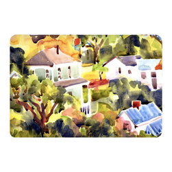 Caroline's Treasures - Houses Kitchen Or Bath Mat 20X30 - Kitchen or Bath COMFORT FLOOR MAT This mat is 20 inch by 30 inch.  Comfort Mat / Carpet / Rug that is Made and Printed in the USA. A foam cushion is attached to the bottom of the mat for comfort when standing. The mat has been permenantly dyed for moderate traffic. Durable and fade resistant. The back of the mat is rubber backed to keep the mat from slipping on a smooth floor. Use pressure and water from garden hose or power washer to clean the mat.  Vacuuming only with the hard wood floor setting, as to not pull up the knap of the felt.   Avoid soap or cleaner that produces suds when cleaning.  It will be difficult to get the suds out of the mat.