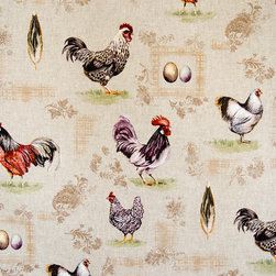 Chicken rooster fabric gold tan plaid paisley French - A rooster chicken fabric with eggs and feathers is accented with gold and tan plaid and paisley toile patterns! This is unique!