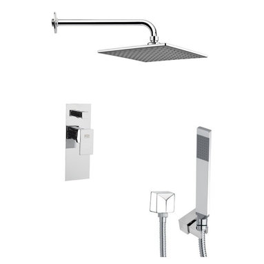 Remer - Square Chrome Modern Shower System - Single function shower faucet.