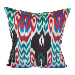 """Peaks of Tashkent 20"""" Ikat Pillow Cover - P-A526 - 20"""" x '20"""" Ikat pillow cover constructed from hand woven Ikat fabric from Uzbekistan. This distinct Ikat pillow design can liven up both a modern or traditional styled room with its bright red, blue, green, black and white colors. This pillow design would look great on a black leather sofa or chair, as well as white, red furniture or bedding."""