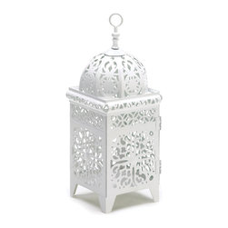 """Koehler Home Decor - Koehler Home Decor White Filigree Candle Lantern - Fancy candle lantern in bright white floral filigree that creates a kaleidoscope display making your porch or patio come alive with jubilant points of light. Metal. Candle not included. 4.25"""" diameter x 1"""" length x 10.75"""" high.Material: Metal. Dimension: 4.25"""" diameter x 1"""" length x 10.75"""" high."""