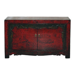 Chinese Red Lacquered Buffet - Two-door buffet with red lacquer. Hand-carved doors with green borders and carved bottom skirt. New interior shelf and hardware. Gansu, China, circa 1890