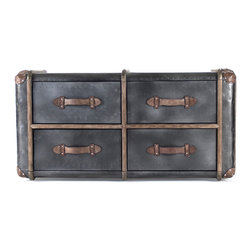Zentique - Erasto Chest - The Erasto Chest features four drawers with leather handles and wood trim in a charcoal grey.