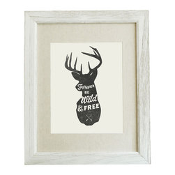 "Forever Be Wild and Free Deer Head Silhouette 8x10 Print (Frame Not Included) - This typographic print features an original design of ""Forever Be Wild and Free"" lettered in a deer head silhouette. 8x10 unframed giclee print on high quality 100lb felt cover stock. (similar to watercolor paper) Ships flat in protective packaging."