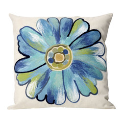 """Trans-Ocean Inc - Daisy Aqua 20"""" Square Indoor Outdoor Pillow - The highly detailed painterly effect is achieved by Liora Mannes patented Lamontage process which combines hand crafted art with cutting edge technology. These pillows are made with 100% polyester microfiber for an extra soft hand, and a 100% Polyester Insert. Liora Manne's pillows are suitable for Indoors or Outdoors, are antimicrobial, have a removable cover with a zipper closure for easy-care, and are handwashable.; Material: 100% Polyester; Primary Color: Aqua;  Secondary Colors: blue, green, white; Pattern: Daisy; Dimensions: 20 inches length x 20 inches width; Construction: Hand Made; Care Instructions: Hand wash with mild detergent. Air dry flat. Do not use a hard bristle brush."""