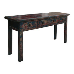 Golden Lotus - Chinese Rustic Blue Red Lacquer Console Buffet Table - This is an old table restored  with rustic blue red lacquer finish. It is an interesting piece for home or office as console or buffet table.