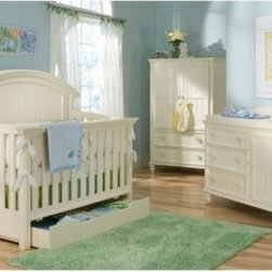 "Legacy Classic Summer Breeze 4-in-1 Convertible Crib Collection - The Legacy Classic Summer Breeze 4-in-1 Convertible Crib Collection is a stylish option for your nursery. Bursting with style and storage solutions these versatile pieces are affordably priced and designed to take your child from infancy through the teen years. Available in a crisp painted white finish and crafted from poplar solids select hardwood solids and select hardwood veneers the collection matches almost any decor - whether you're buying one piece or the entire collection the look will be seamless. Sturdy craftsmanship guarantees this furniture will be around even after your child grows up. Scroll below to Product Accessories to purchase additional collection pieces. About the Crib - Our Cribs are designed with stationary sides to eliminate safety concerns associated with drop sides. The crib features three mattress positions to accommodate growing baby. Our Grow With Me crib safely follows your child from infant to teen with an innovative design that allows the crib to function as four different beds: Infant Crib Toddler Bed Preschool Daybed and Full Size Bed. Toddler guard rail and full-size conversion kit sold separately. Scroll below to Product Accessories to purchase. Crib dimensions: 61L x 33W x 54H inches. About the Under-Crib Drawer - The Classic Summer Breeze crib drawer offers underbed storage for blankets sheets clothes diapers and all your other baby supplies. It includes a center divider for organized storage. Casters on the bottom of drawer for ease of movement. Drawer stops included to prevent drawer from rolling beyond the front rail. Works well with convertible crib in any configuration: crib toddler bed day bed or full bed. Dimensions: 50W x 24D x 8H inches. About the Dresser and Changing Station - Three drawers and a large cabinet provide storage for baby's clothes and blankets. Two adjustable shelves behind the door for appropriate storage space. Anti-tip restraint hardware included. The removable changing station top includes a removable changing cushion as well as an adjustable safety strap. A divided organizer area keeps diaper changing essentials close at hand. Dresser dimensions: 50W x 19D x 34H inches. Changing Station dimensions: 45L x 19W x 8H inches. About the Armoire - Designed for today's technology this armoire provides one storage drawer and one drop-down drawer at the base. The drop down drawer has cord holes which makes it perfect for game controllers. One small storage compartment one adjustable shelf and one pull-out drawer in main section. TV space will accommodate most 31"""" TVs. Slide-out TV back panel has cord holes. Drawer stops in every drawer. Dimensions: 40W x 20D x 62H inches. About Legacy Drawers - All items in the Legacy product line use Kenlin's Rite-Trak drawer guide system. Exceptionally quiet and smooth this system features positive stops and close tolerances for better drawer fit. Kenlin drawer guides are made with precision steel guides and runners permanent lubrication and specially engineered plastic components for years of reliable performance. About Legacy Classic FurnitureCommitted to offering the best of today's youth-bedroom styles for the young and young at heart Legacy Classic Furniture offers a wide selection of best selling designs and finishes with a large variety of beds and storage and study options. Dedicated to providing outstanding quality at reasonable prices Legacy Classic Furniture employs quality materials proven construction techniques and the highest safety standards to manufacture exceptional products that are built to last a lifetime."
