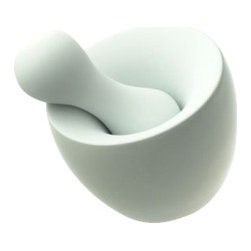 Mint - Full Contact Spice Grinder - Sleek and sexy — this mortar and pestle will spice up your meals. Designed by Scott Henderson, the white porcelain tool is ideally shaped to grind spices to the perfect consistency. Bon appetit!