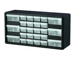 Akro-Mils - 26 Combo, Drawer Storage Cabinet - Cabinet stacks securely and can also be wall mounted with keyhole slots. Clarified polypropylene, dividable drawers offer easy content identification. Finger-grip drawer pulls provide easy access and rear stop tabs prevent contents from spilling. Optimize storage space and improve parts protection.