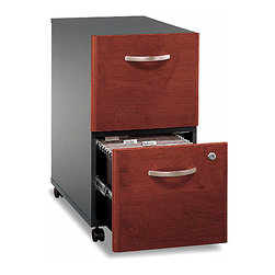 Bush - Hansen Portable Cherry Stained 2 Drawer File - This great, cherry finished two drawer file cabinet is spacious for all of your important documents and stylish to fit into your room decor.  Both drawers are big enough to hold letter, legal, and A4 file folders and can be locked to protect sensitive or confidential documents.  This item is easily movable on durable casters and small enough to fit underneath most desks and work spaces.  The Two-Drawer File Mobile File with Hansen Cherry Stain rolls smoothly on casters and fits conveniently beneath standard sized desks.  This cherry finish file cabinet is not only functional, but stylish enough to fit in with your office d̩cor. * Originally known as the Corisca collection. Casters allow easy mobility. File fits under desks. Each drawer holds letter, legal and A4-size files. One gang lock secures both drawers. Drawers open on full-extension ball bearing slides. 15.709 in. W x 20.276 in. D x 28.110 in. H