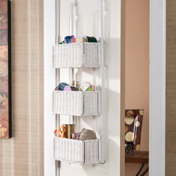 Upton Home - Upton Home Burnet White Over-the-Door 3-tier Basket Storage - Add functional style to your room with this white-rattan,three-tier basket. Featuring over-door hooks to hang comfortably over most doors,this basket storage is perfect for organizing your belongings to help keep clutter to a minimum.