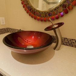 Bathroom Remodels By Kitchens Etc Red Glass Vessel Sink