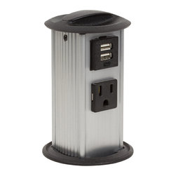 "PCS6/USB - Power Pylon is engineered to seat securely in desktop so when user plugs in, unit will stay firmly upright and not bend backwards. Goes into round 2 7/8"" hole so it can be used not only in desks and work surfaces, but also in arms of chairs or atop table legs."