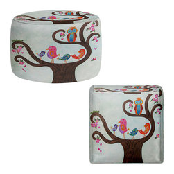 DiaNoche Designs - Ottoman Foot Stool by Gwen Meades - Tree Party III - Lightweight, artistic, bean bag style Ottomans. You now have a unique place to rest your legs or tush after a long day, on this firm, artistic furtniture!  Artist print on all sides. Dye Sublimation printing adheres the ink to the material for long life and durability.  Machine Washable on cold.  Product may vary slightly from image.