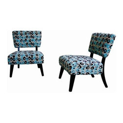 Wholesale Interiors - Baxton Studio Turquoise and Brown Pattered Fabric Club Cha - Accent chair in beige fabric with bubbles of contrasting turquoise and brown design, foam padded seat cushion and back cushions, back frame and legs are black rubberwood, chenille fabric.