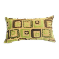"Canaan - Cavalli Chenille Green Squares Pattern Print 14"" x 22"" Throw Pillow - Cavalli chenille green squares pattern print 14"" x 22"" throw pillow. Measures 14"" x 22"" made with a blown in foam. These are custom made in the U.S.A and take 4-6 weeks lead time for production."
