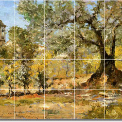 Picture-Tiles, LLC - Olive Trees Florence Tile Mural By William Chase - * MURAL SIZE: 32x40 inch tile mural using (20) 8x8 ceramic tiles-satin finish.