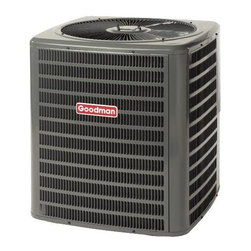 GOODMAN - GOODMAN 13 SEER R410A AIR CONDITIONER 1.5 TON - The Goodman brand GSX13 Air Conditioner uses the chlorine-free refrigerant R-410A and features operating sound levels that are among the lowest in the heating and cooling industry. With its 13 SEER rating, the GSX13 will help reduce energy consumption throughout the life of the system. | Product Features: | R-410A chlorine-free refrigerant  | Energy-efficiency scroll compressor  | Factory-installed liquid line filter dryer  | Copper tube/aluminum fin coil  | Brass liquid & suction line valves  | Contactor with lug connection  | Ground lug connection  | Copper tube/enhanced aluminum fin coil | AHRI certified; ETL listed  | Cabinet Features: | Goodman brand louvered sound control top design | Steel louver coil guard | Heavy-gauge galvanized-steel cabinet | Attractive Architectural Gray powder-paint finish with 500-hour salt-spray approval | Top and side maintenance access