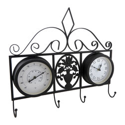 Zeckos - Black Metal Clock and Thermometer Decorative Wall Hook Hanging - You'll always know the time and temperature when you hang this decorative accent on the wall This decorative wall-mounted display adds the finishing touch to any garden room, entryway or office, and displays the time in roman numerals, the temperature in Celsius and Fahrenheit degrees, and boasts 4 hooks for hanging light jackets, hats, leashes or other decorative items. Crafted from metal, it measures 16 inches (41 cm) high, 18.25 inches (46 cm) wide, 2 inches (5 cm) deep, is hand-painted in a matte black finish to look like wrought iron, and features an ornate scrolling design. It easily mounts to the wall using the included hardware, and the clock requires just 1 AA battery (not included), that's accessible from the back. It's a beautiful accent in any room, porch or patio, and makes a wonderful housewarming gift sure to be enjoyed